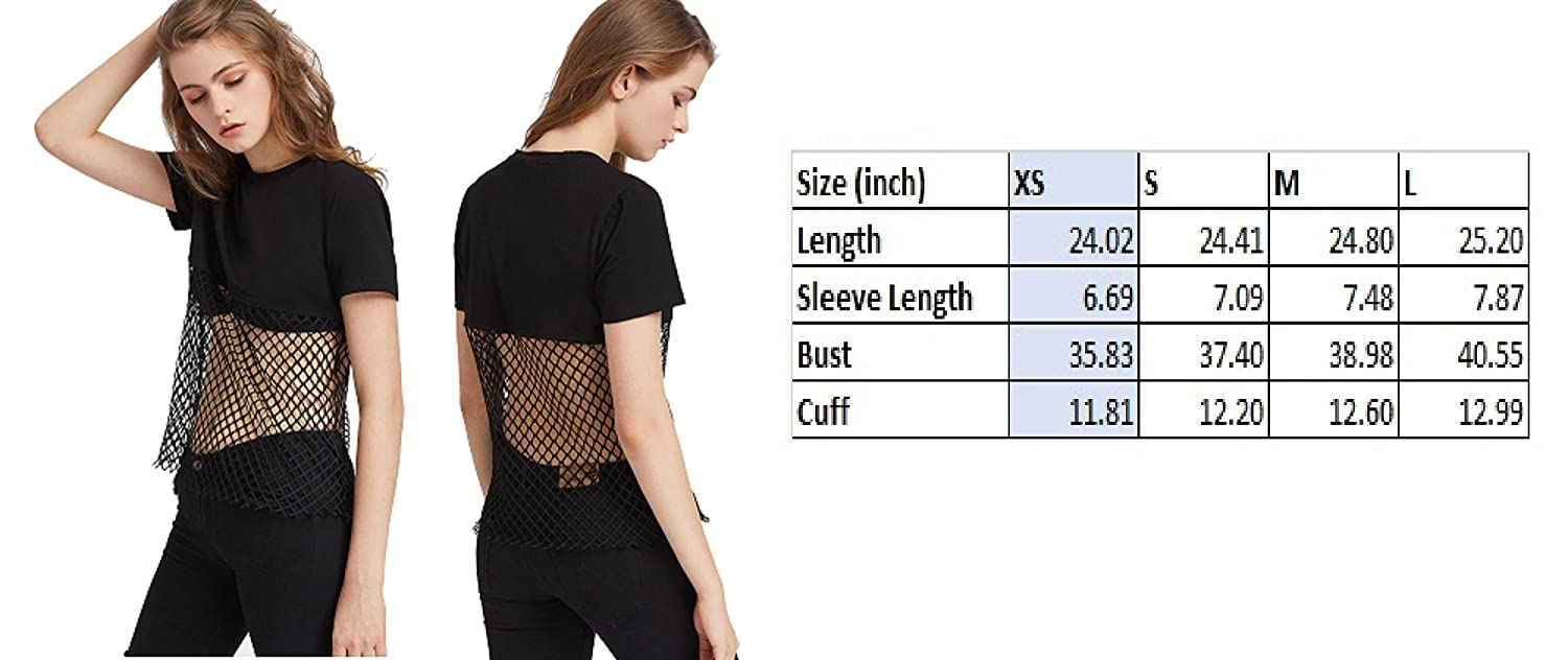 d555b83d888 Amazon.com: Women Lady Sexy Sheer Mesh See Through Fishnet Cover Bra Round  Neck T-Shirt (S): Health & Personal Care