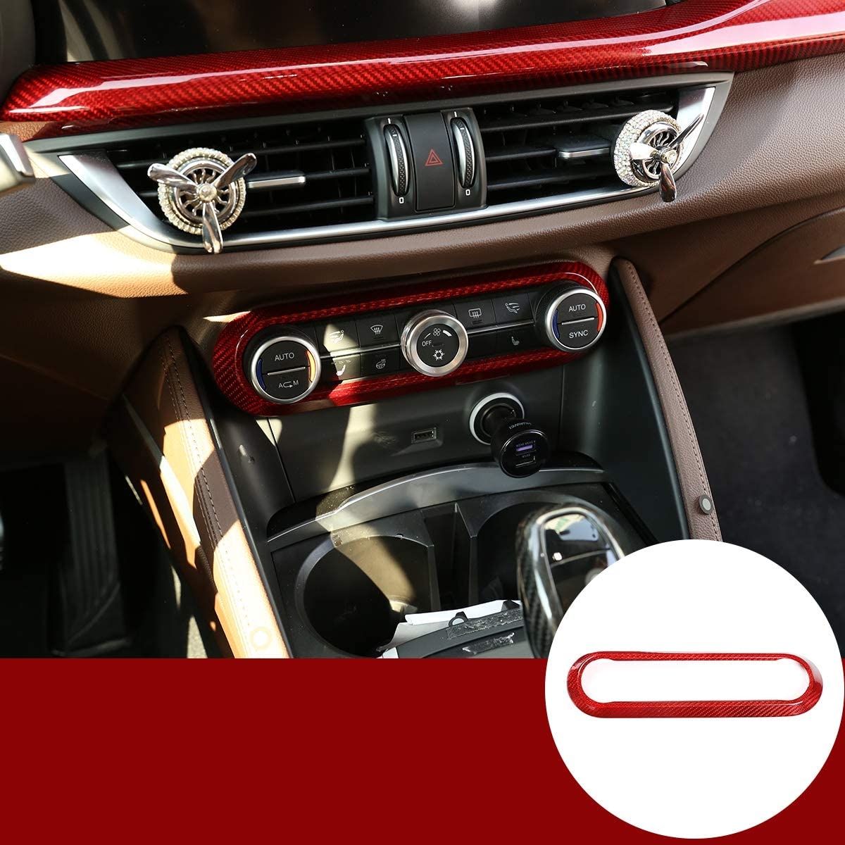 YIWANG 100% Red Real Carbon Fiber Center Air Conditioning Adjustment Frame Trim for Alfa Romeo Giulia Stelvio 2017 2018 2019 Auto Accessories