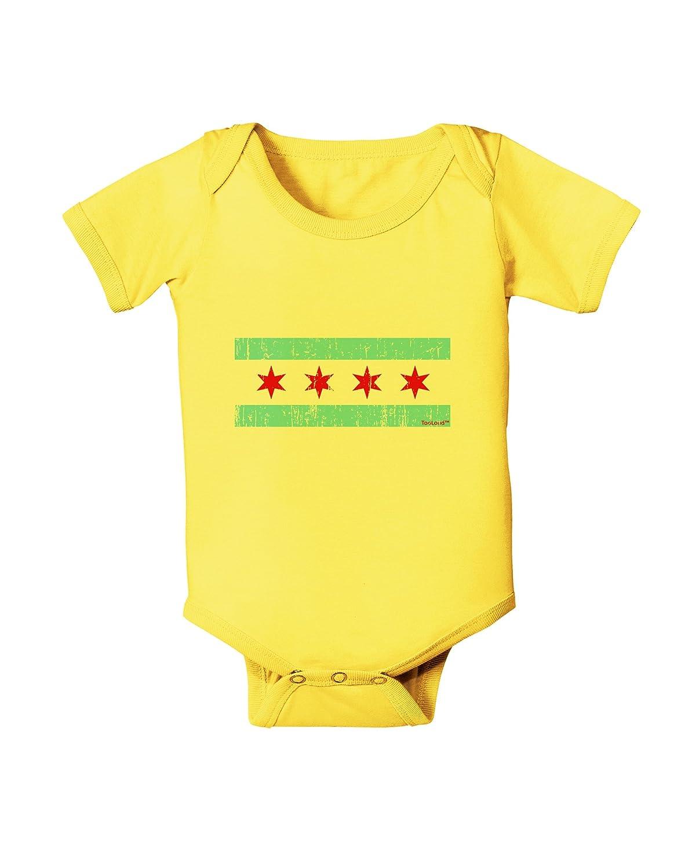 TooLoud Distressed Chicago Flag Design Baby Romper Bodysuit