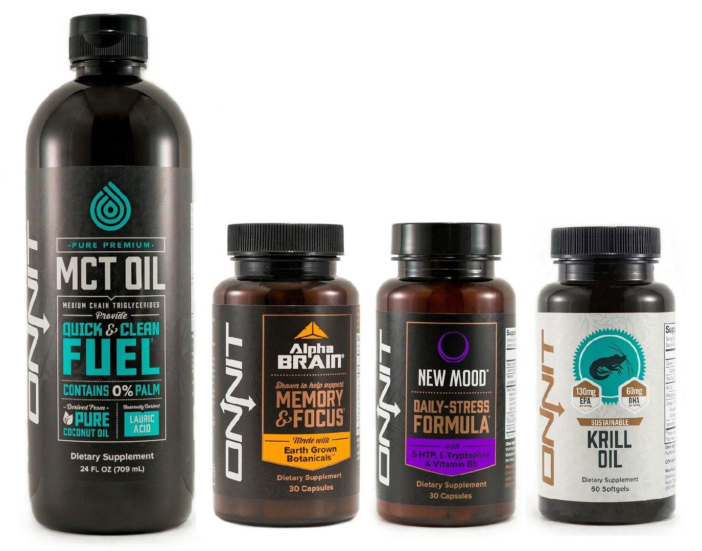 Onnit Brain Booster Pack   Alpha Brain 30ct, New Mood 30ct, Krill Oil & MCT Oil (24oz)