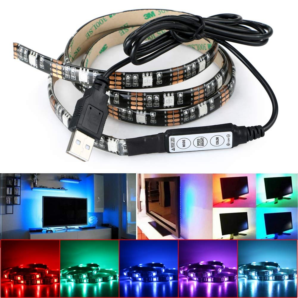 DeepDream LED Strip Lights TV Backlight 4.9ft 5050 45Leds 5V USB Powered Mini Controller for HDTV, Flat Screen TV Accessories and Desktop PC, Multi Color