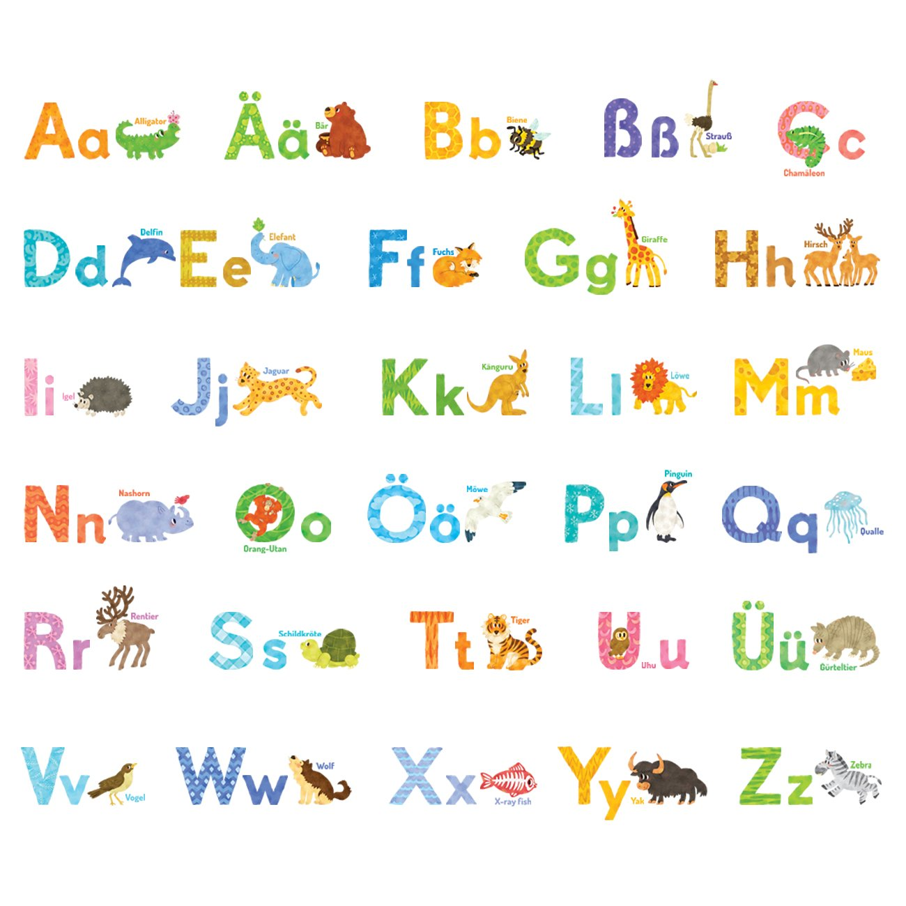 Decowall DW-1808 Watercolour Animal German Alphabet Kids Wall Stickers Wall Decals Peel and Stick Removable Wall Stickers for Kids Nursery Bedroom Living Room