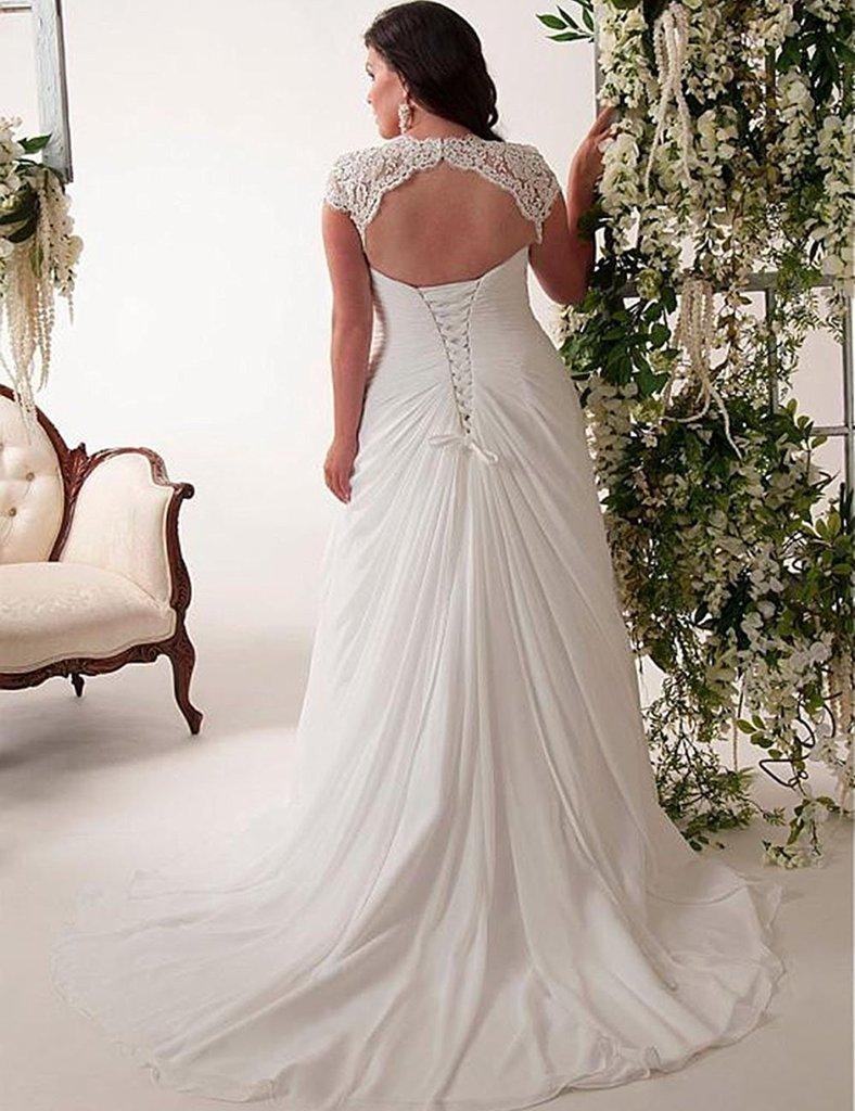 Yipeisha Women S Elegant Applique Lace Wedding Dress V Neck Plus Size Beach Bridal Gowns,Trusted Online Wedding Dress Sites