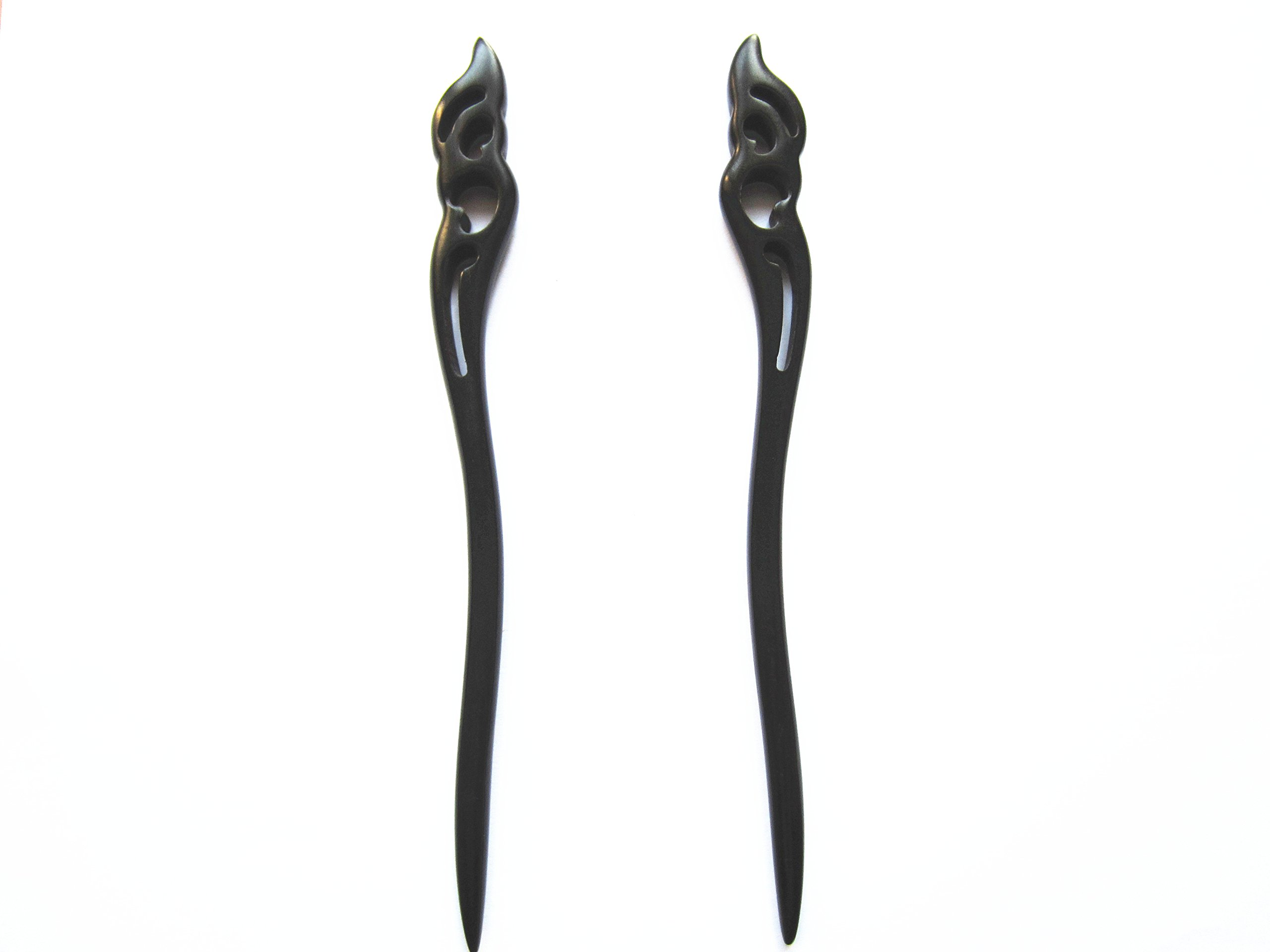 Myhsmooth Zz-bg-moon 2 Count Hair Sticks Natural Black Sandalwood(ebony) Handmade Carved Hair Clip Shawl Hair Pins Pack of 2 Pcs :Hold the Moon