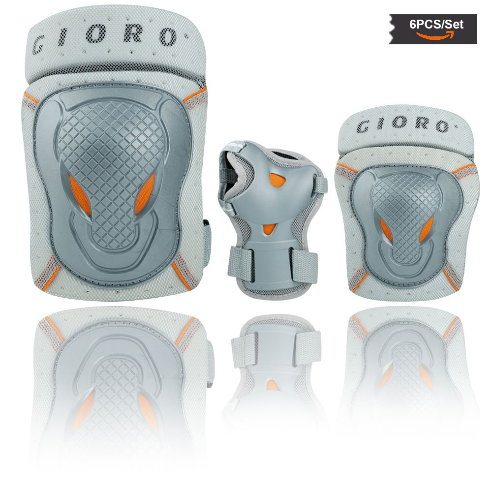 GIORO Youth/adult Knee Pads and Elbow Pads Set with Wrist Guard Safety Protective Gear Set for Multi Sports Protection Skateboarding,Ice Skating,BMX bike,Inline Roller Skating,longboarding (sliver, M)