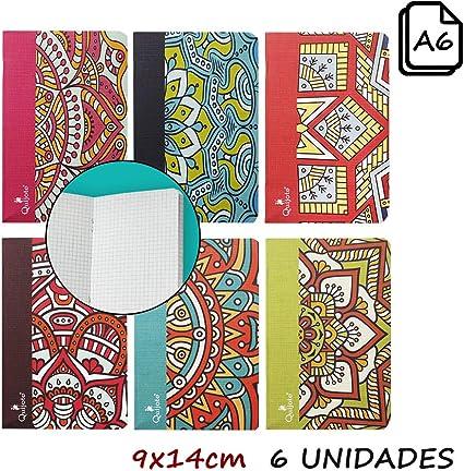 Quijote Paper World Pack 6 Libretas, Cuadernos, Interior Cuadros 4x4mm, Diseño Mandalas, 9x14cm, 40 Hojas para Uso Escolar, Oficina, Trabajo, etc.: Amazon.es: Oficina y papelería