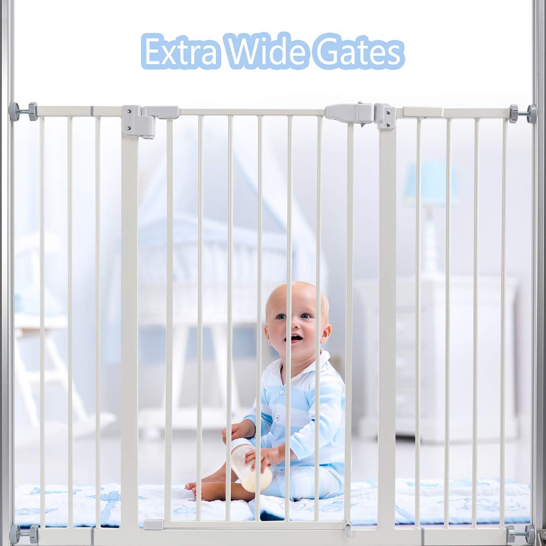 LEMKA T/ürgitter Baby Schutzgitter Treppe Treppengitter Auto-Close Metall Gittert/ür aus Metall,Baby T/ür f/ür Kindersicherheit,Einhand-Bedienung 10 /& 15 cm Erweiterung f/ür Treppen,74-107 cm Wei/ß