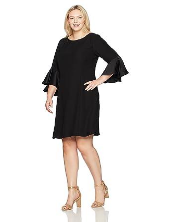 e492ba2f47c Adrianna Papell Women s Size Plus Crepe-Back Satin with Ruffle Sleeve Dress  at Amazon Women s Clothing store