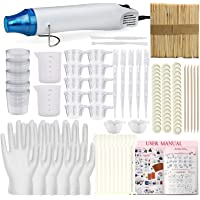 Funshowcase Resin Casting Set 146 Supplies Heat Gun 300 Watt Remove Air Bubble Make Shrink Plastic Jewellery, Epoxy Mixing Measuring Cups 2-Ounce 100ml, Sticks, Spoon, Pipettes Droppers, Disposable Finger Cots, Gloves