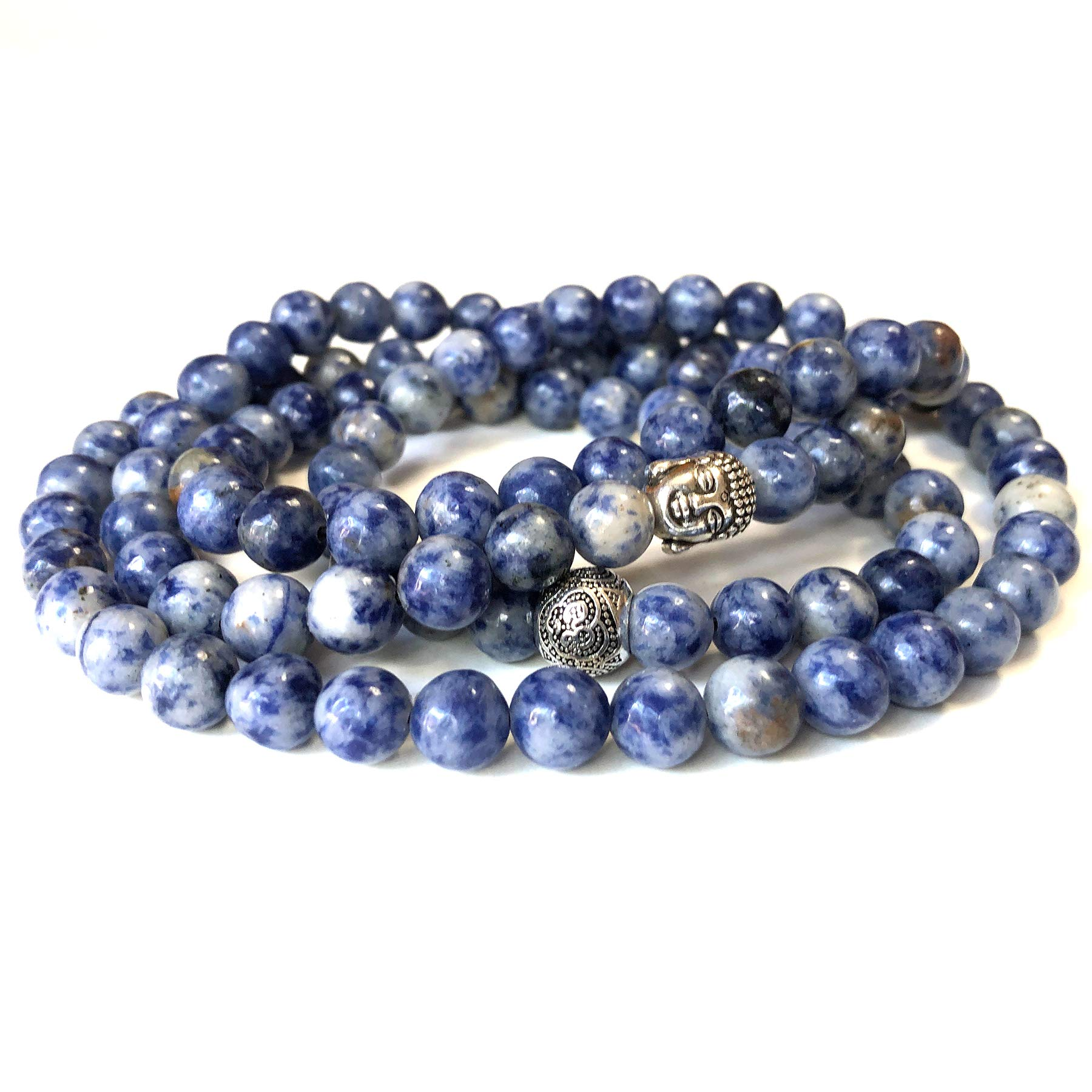 Agar Creations - 108 Bead Sodalite Gemstone 8mm Mala Beads - Yoga Meditation Mala Bracelet Necklace - Intuition Stone by Agar Creations