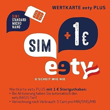Laptop Mit Sim Karte.Eety Sim Karte österreich Sim Micro Sim Nano Sim Für Smartphone Tablet Router Laptop Karte Mit 1 Euro Startguthaben Roamingfähig