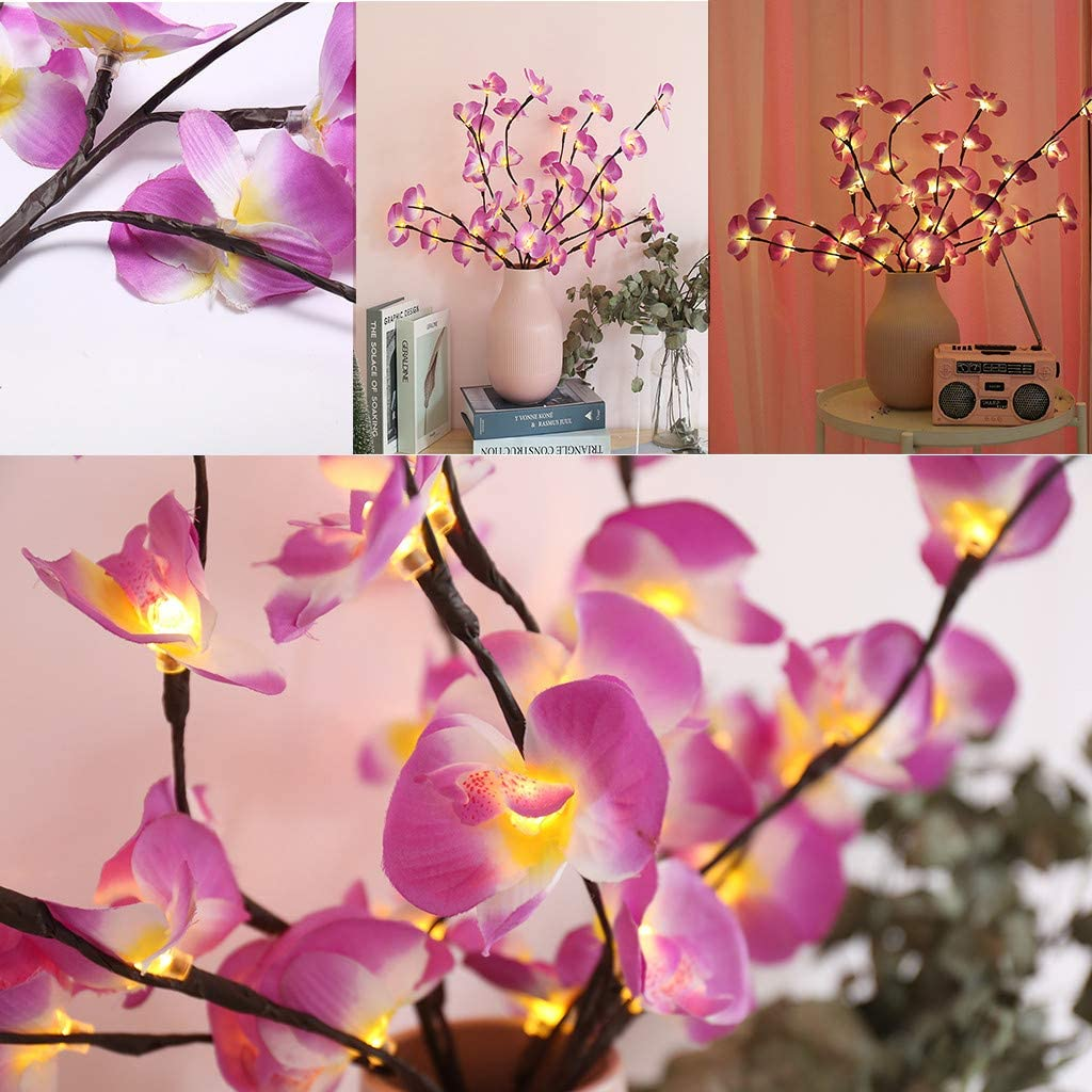 Violet Bureau Chevet yuyuanDO Arbre Lumineux Bouquet Lumineux D/écoratif LED D/écoratif Orchid/ée Violet et Blanc 20pcs LED 48 LED Blanc Chaud pour la Luminaires Int/érieur D/écoration Int/érieure