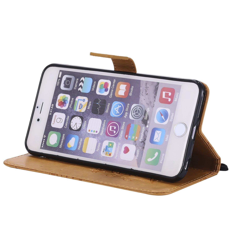 Eazyhurry iPhone 7/Coque Orange Protection /écran Inclus iPhone 8/Coque Housse Portefeuille en Cuir Compatible iPhone 7//8/Compatible iPhone 7//8/11,9/cm