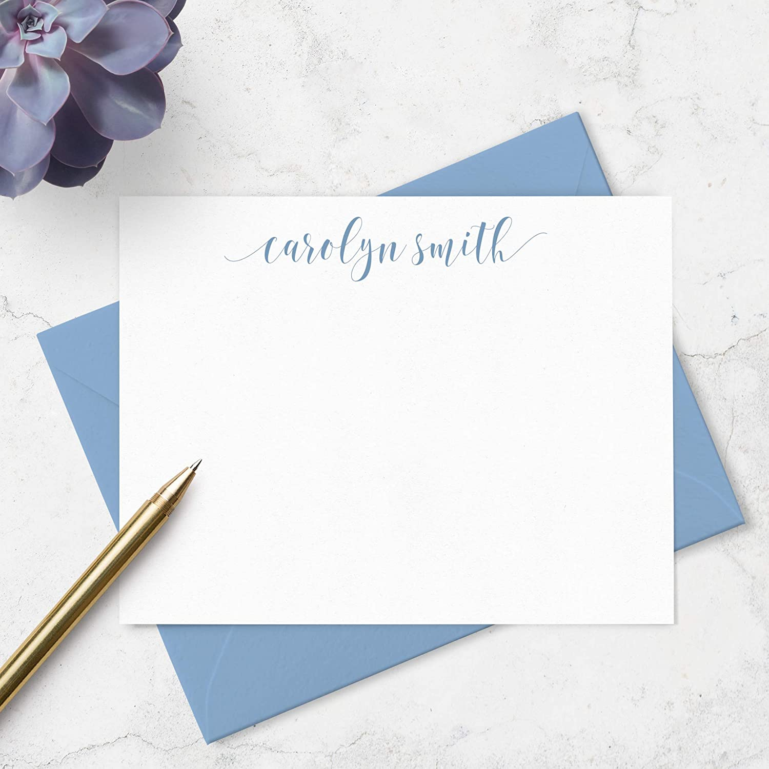 Stationery For Ladies Thank You Cards Gift for Her Personalized Stationery Set of 10 Flat Note Cards /& Envelopes