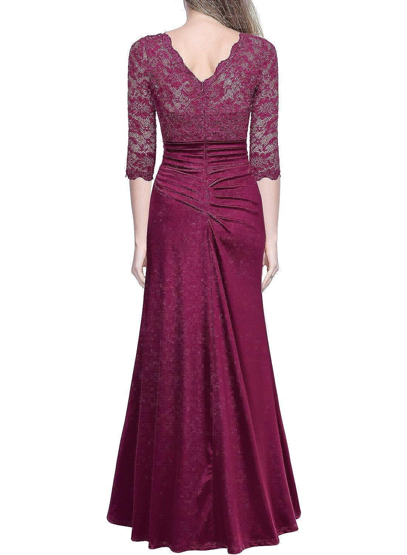 Amazon.com: Miusol Women\'s Retro Floral Lace Vintage 2/3 Sleeve Slim ...