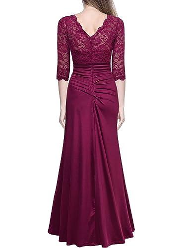 Amazon.com: Miusol Womenu0027s Retro Floral Lace Vintage 2/3 Sleeve Slim Ruched  Wedding Maxi Dress: Clothing