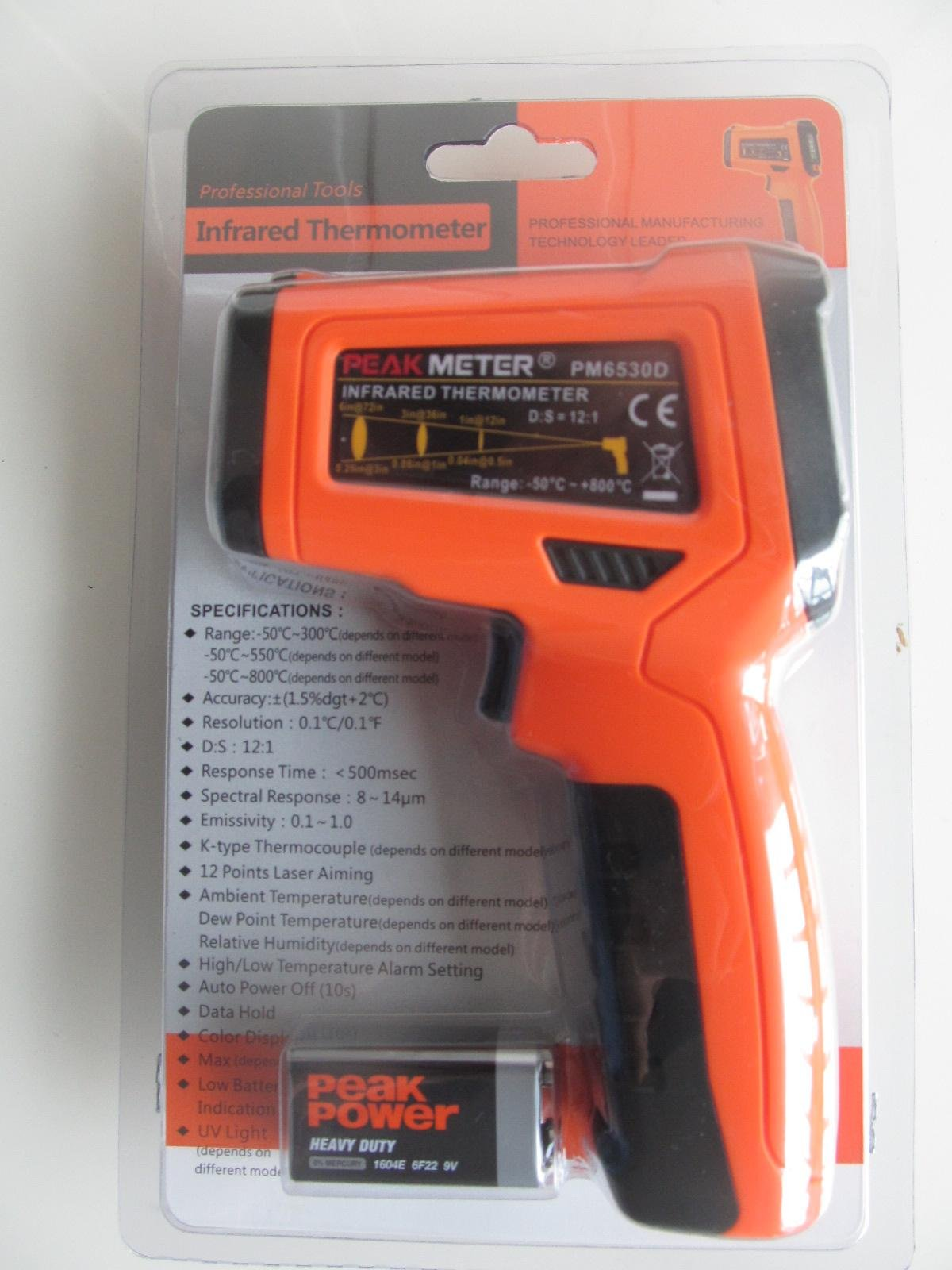 PEAKMETER PM6530D Non-Contact LCD Digital IR Infrared Thermometer -50~800°C
