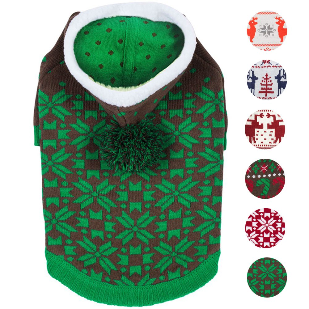Blueberry Pet 6 Patterns Let It Snow Classic Ugly Christmas Holiday Snowflake Pullover Hoodie Dog Sweater in Green, Back Length 20'', Pack of 1 Clothes for Dogs