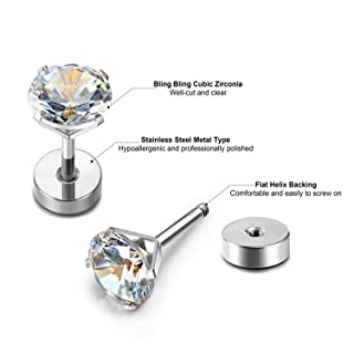 a0f50e4f0 JewelrieShop Assorted Sizes Wholesale Lot Stainless Steel Cubic Zirconia  Barbell Cartilage Tragus Helix Stud Earring