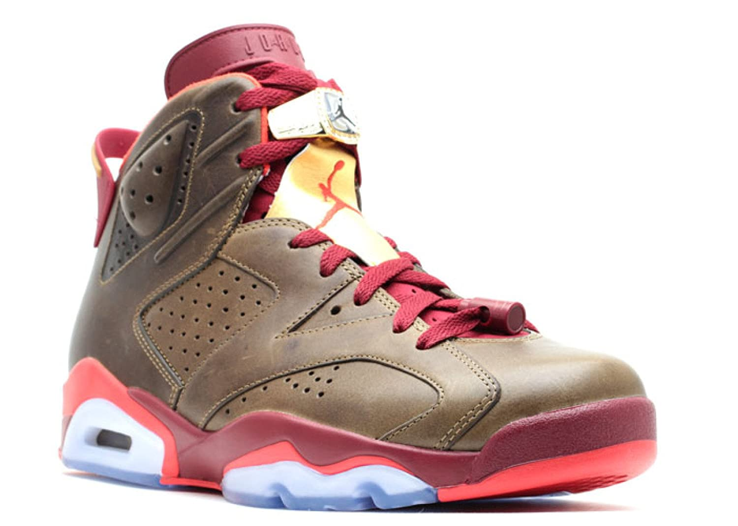 best website a30b4 59b97 Amazon.com   Jordan Air 6 Retro Championship Cigar Men s Shoes Raw  Umber Challenge Red-Metallic Gold 384664-250   Basketball