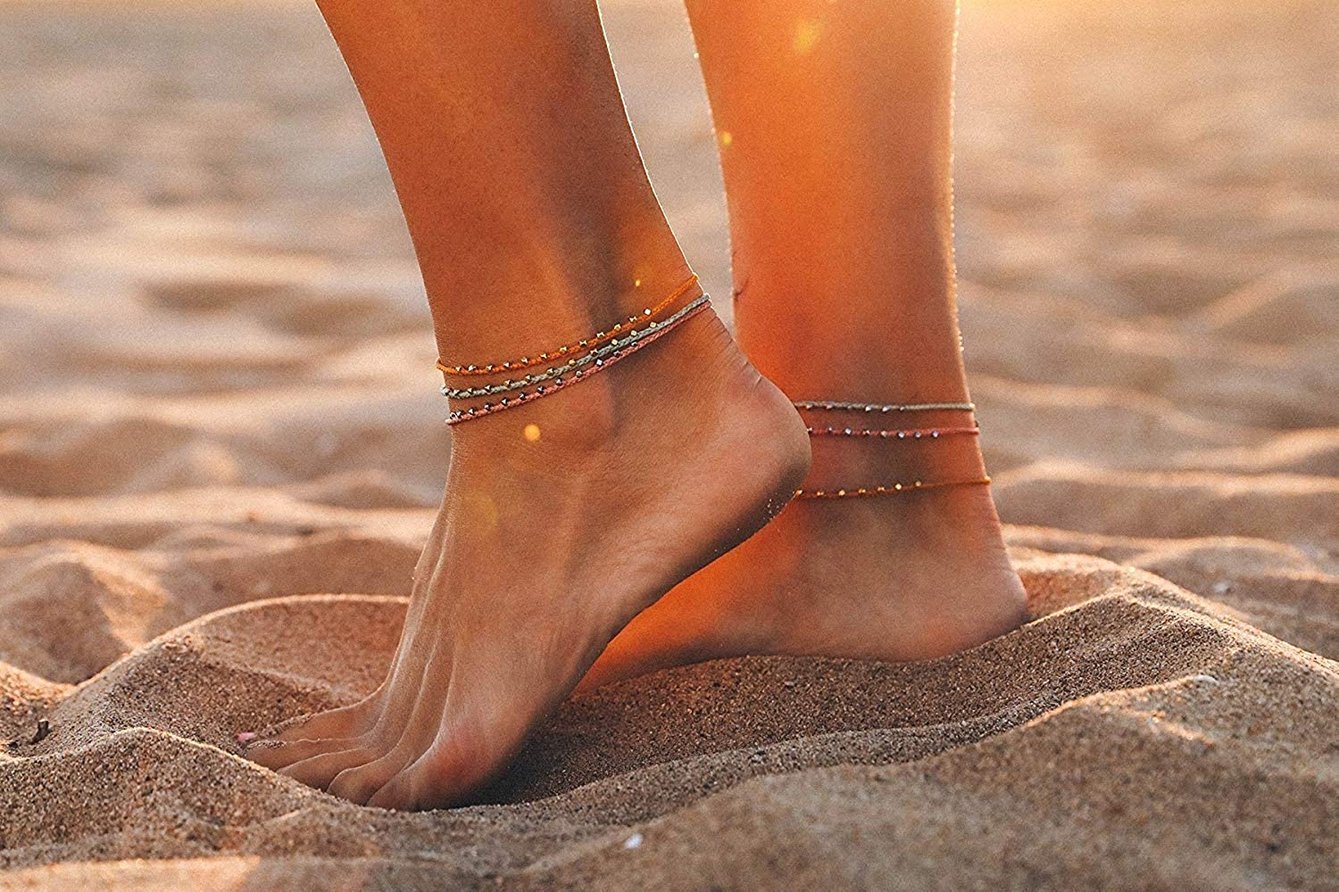 Pura Vida Silver Stitched Beaded Anklet in Pink or Light Green Adjustable Band Wax Coated String