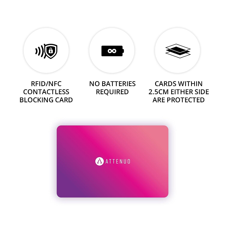 Keine knifflig /Ärmel Fuss-Free Schutz Keine Batterien erforderlich 1 Card sch/ützt dagegen Das Brieftasche Pink Attenuo RFID//NFC-Blocking-Karte Kontaktlose Karten Schutz