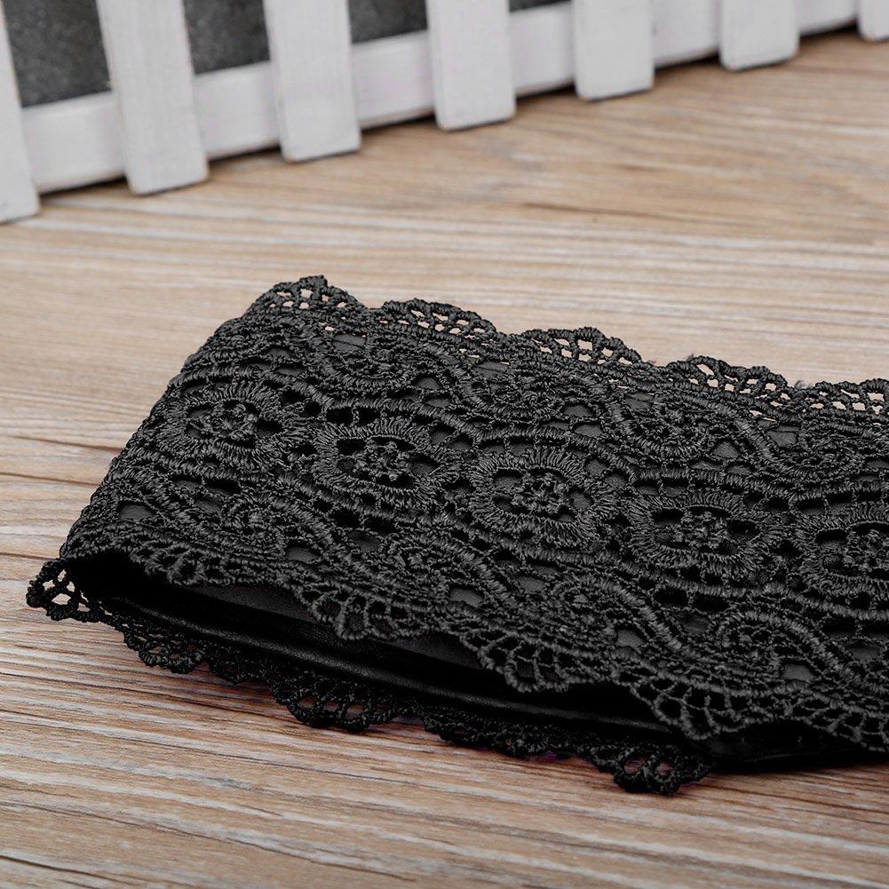 SESY Femme Ceinture Dentelle Cuir Souple Large Cravate pour Robe Boho Serre  Taille Haut Noir de3a567b882
