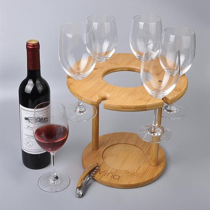 Copa de vino copa de vino de bambú y botellas, Vina De Mesa Cristal Gancho de la percha soporte organizador bandeja con un libre de madera sacacorchos ...