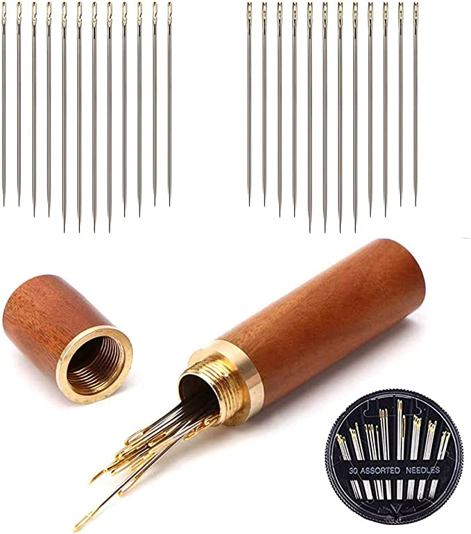 Chenkaiyang Darning Needles Set Big Eye Blunt Needle Steel Sewing Needles with Wooden Bottle for Thick Wool
