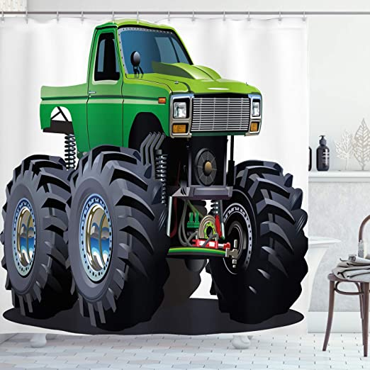 Amazon Com Ambesonne Cars Shower Curtain Giant Monster Pickup Truck With Large Tires And Suspension Extreme Biggest Wheel Print Cloth Fabric Bathroom Decor Set With Hooks 70 Long Green Grey Home Kitchen