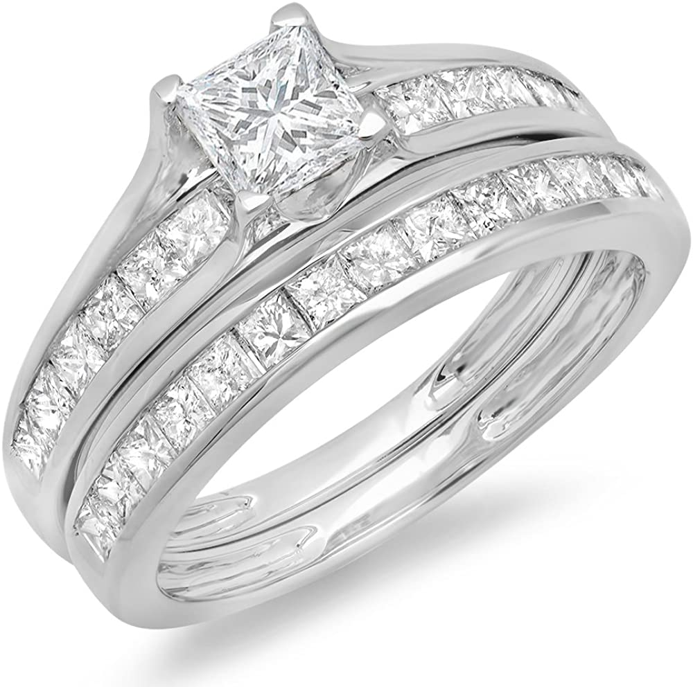 Dazzlingrock Collection 2.00 Carat (ctw) 14K Princess Cut Diamond Bridal Engagement Ring With Matching Band Set 2 CT, White Gold