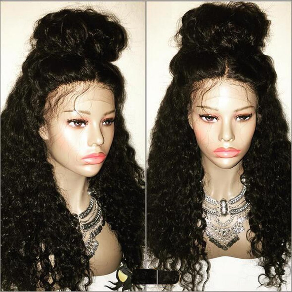 LUFFYWIG Virgin High Ponytail Lace front Wig Peruvian Lace Front Curly Human Hair Wigs with Baby Hair (20 Inch, 1#-Jet Black)