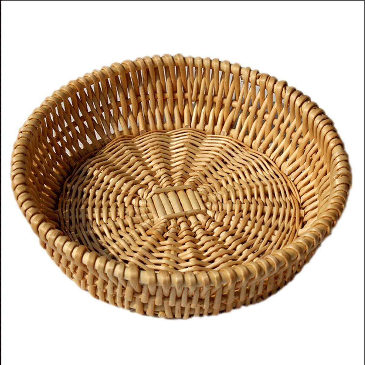 Muziwenju Rattan Basket, Wicker Basket, Kitchen Tabletop Toy Weaving Storage Basket, Egg and Fruit Storage Basket, Food Basket, (Size : XXL)