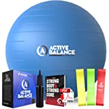 Active Balance Exercise Ball - Gym Grade Fitness Ball for Stability, Balance & Yoga - Comes With Bonus Resistance Bands…