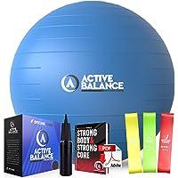 Active Balance Exercise Ball - Gym Grade Fitness Ball for Stability, Balance & Yoga - Comes With Bonus Resistance Bands…