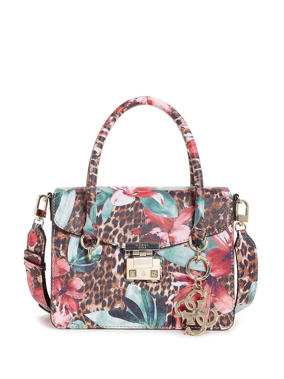 GUESS Orchid Leopard Printed Satchel Crossbody Bag