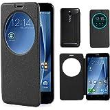"""Coque Asus Zenfone 2 , Leathlux Parfait Ultra-thin View Window Motif Flip PU Bumper Mince Protecteur Folio Housse Etui Case Cover Fit Pour Asus Zenfone 2 ZE551ML / ZE550ML 5.5 """" (Noir)"""