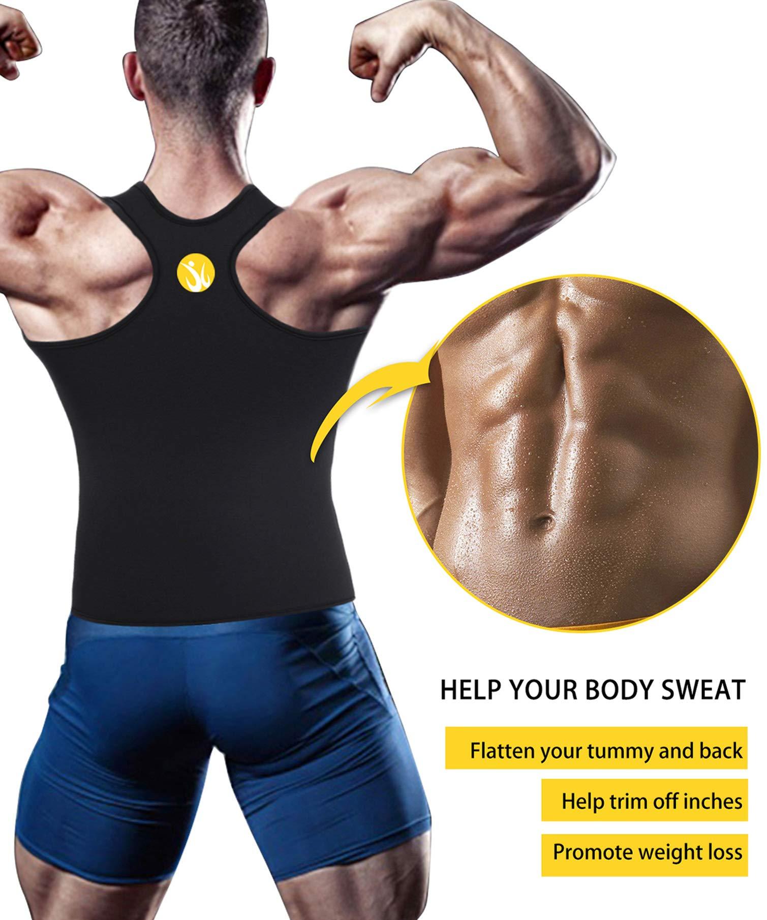6c1d6fe38e Junlan Men Sweat Waist Trainer Tank Top Vest for Weight Loss Neoprene  Workout Shirt Sauna Body Shaper Fitness Gym Corset Zipper (XXXXL
