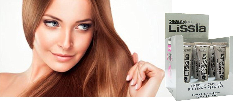 Amazon.com : LISSIA-Keratina y Biotina Ampolla (BOX 12PCS). Ayuda a recuperar el cabello maltratado. Ayuda para la caída del cabello. : Beauty