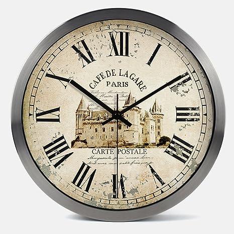 Janning Clocks Relojes vintage,Reloj Reloj de pared creativo Salón moderno reloj Gráficos murales decorativos