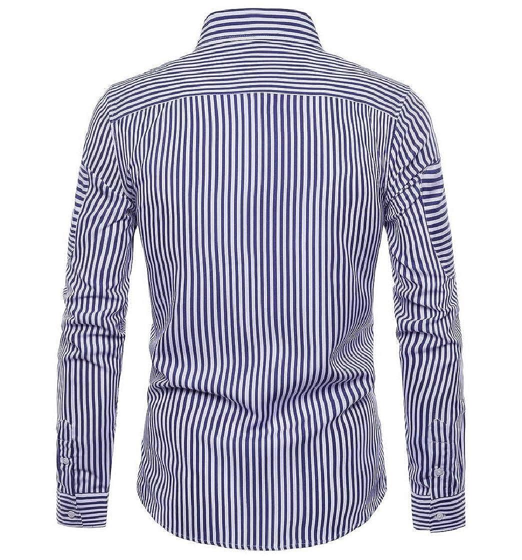 YUNY Men Business Long Sleeve Stripe Casual Button Shirt Blouse Tops Blue S