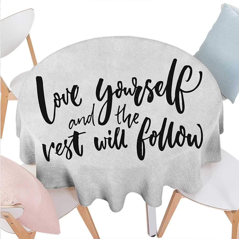 BlountDecor Quote Dinning Round Tabletop DecorLove Yourself and The Rest Will Follow Motivational Phrase Wisdom Words Zen Round Table Cover for Kitchen D36 Charcoal Grey White