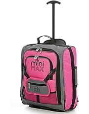MiniMax Valise Enfant Bagage Cabine Trolley Sac à Dos avec Pochette pour Votre Jouets/Poupées/ Nounours (Rosé, Nounours Non Inclus)