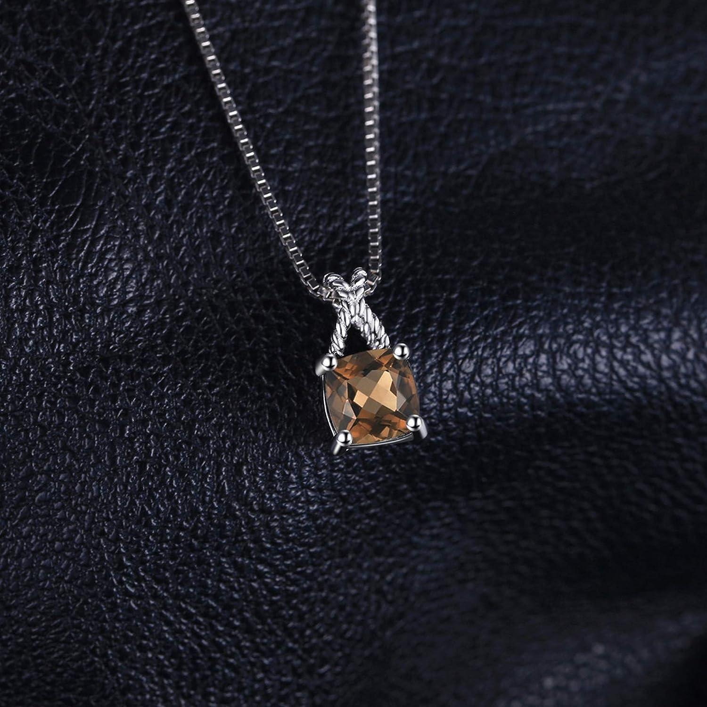MMC Womens Classic 0.93ct Smoky Quartz Box Chain Silver Pendants Necklaces