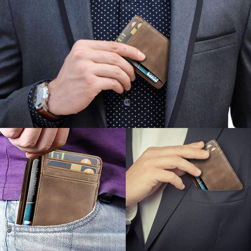 Mum s Gift Genuine Leather Men Front Pocket Slim Card Wallet with RFID To My Son Just Believe In Yourself