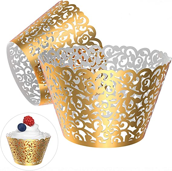 Anniversary Mirror SilverGold Filigree Cupcake Paper Cup Liner Lace Laser Cupcake Wrappers for Wedding Party Birthday Decoration Gatsby