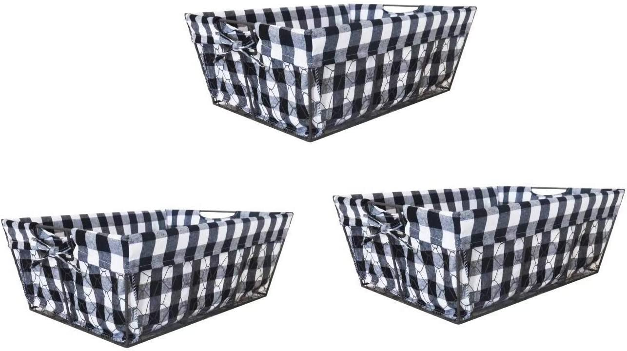 THE NIFTY NOOK I Set of 3 I Farmhouse Wire Basket Liner Set I Home and Kitchen Storage Black White Check