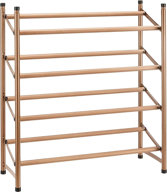 AmazonBasics Easy Assemble Shoe Rack - 4-Tier, Rose Gold