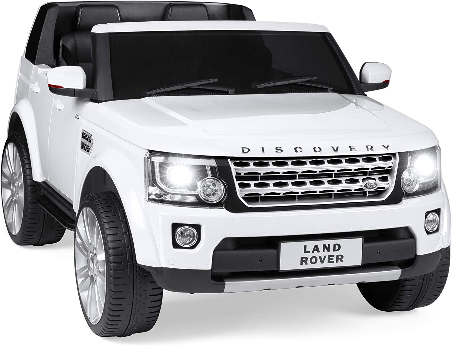 Amazon Com Best Choice Products 12v 3 7 Mph 2 Seater Licensed Land Rover Ride On Car Toy W Parent Remote Control Mp3 Player White Toys Games