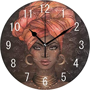 ALAZA Home Decor African American Aztec Tribal Round Acrylic 9.5 Inch Wall Clock Non Ticking Silent Clock Art for Living Room Kitchen Bedroom